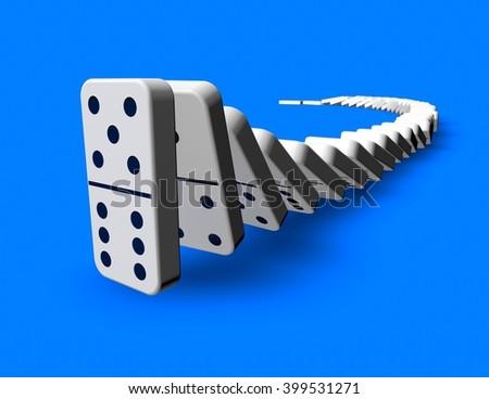 Domino effect idea 3D render blue background. - stock photo
