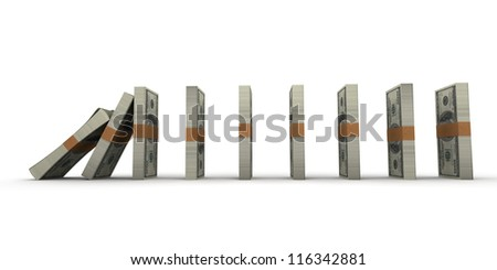 Domino effect with stacks of hundred dollar bills - stock photo