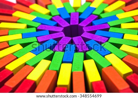 Domino game outof colorful block A - stock photo