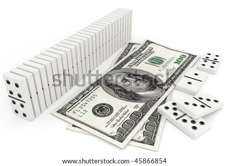 domino in row and one hundred dollar bill - 3d illustration