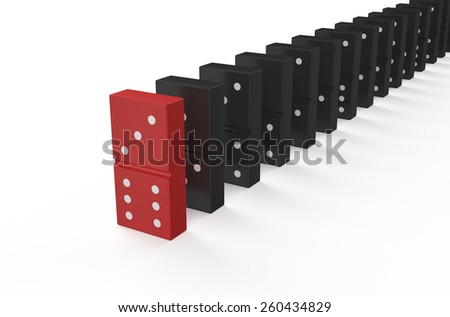 domino, leader concept isolated on white background - stock photo