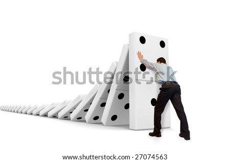 Domino moving down - stock photo