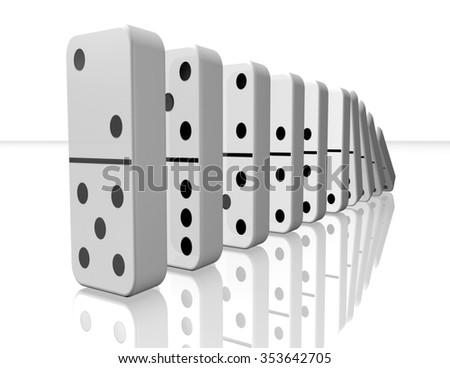 Domino pieces falling 3d illustration isolated on white background. - stock photo