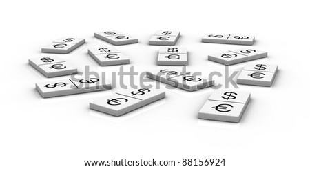 domino pieces with currencies symbols instead of numbers (3d render)