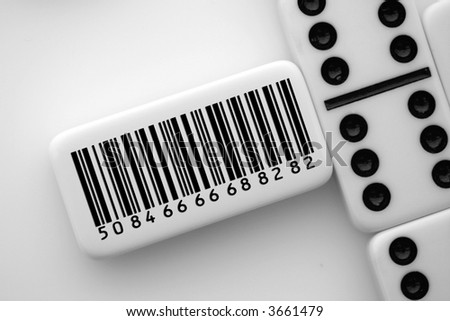 Domino when read with scanner spells success - stock photo