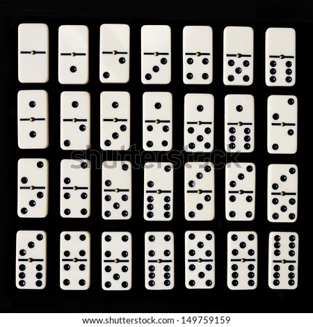 Dominoes isolated on a black background