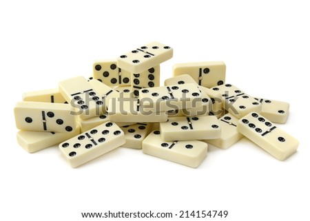 dominoes isolated on a white background - stock photo
