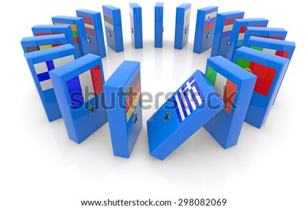 dominoes with the flags of the eurozone countries  - stock photo