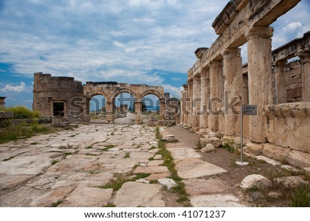 Domitian Gate in ancient hellenistic city Hierapolis in Turkey