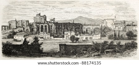 Domitian palace ruins old view, Rome. By unidentified author, published on L'Illustration, Journal Universel, Paris, 1860