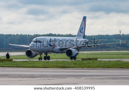 Domodedovo airport, Moscow - July 11th, 2015: Airbus A319 VQ-BTZ of Ural Airlines.