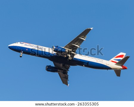 Domodedovo - March 17, 2015: Airbus A321 passenger aircraft, the airlines British Airways, landing at Domodedovo airport March 17, 2015, Domodedovo, Moscow Region, Russia - stock photo