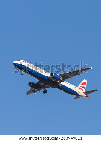 Domodedovo - March 17, 2015: Beautiful passenger aircraft Airbus A321, the airlines British Airways, landing at Domodedovo airport March 17, 2015, Domodedovo, Moscow Region, Russia - stock photo