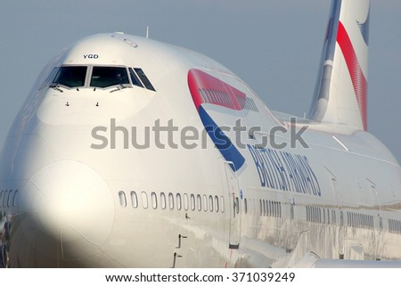 DOMODEDOVO, MOSCOW REGION, RUSSIA - MAY 28, 2012: British Airways Boeing 747-400 taxiing at Domodedovo international airport. - stock photo