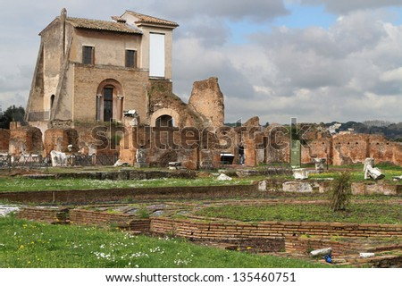 Domus Flavia and its fountain, in Flavian Palace on the Palatine Hill - stock photo