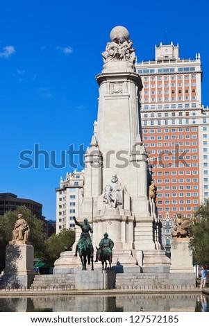 Don Quixote and Sancho Panza statue on Plaza de Espana - Madrid Spain - stock photo