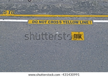 Don't Cross the Yellow Line Sign