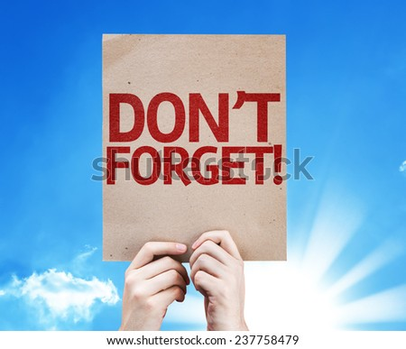 Don't Forget! card with beautiful day - stock photo