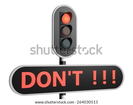 Don't go any further - red light sign - stock photo