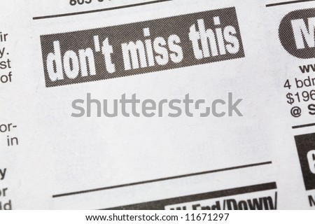don't miss this, newspaper Sales ad,  Business concept - stock photo