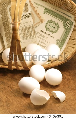 Don't put all your eggs in one basket - stock photo