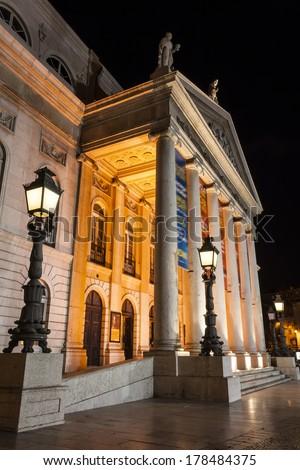 Dona Maria II National Theatre in Rossio Square, the main square of Lisbon, Portugal. - stock photo