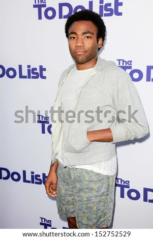 "Donald Glover at ""The To Do List"" Los Angeles Premiere, Regency Bruin Theater, Westwood, CA 07-23-13 - stock photo"
