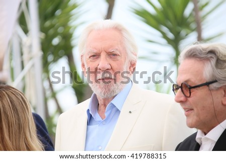 Donald Sutherland attend the jury photocall during the 69th annual Cannes Film Festival at Palais des Festivals on May 11, 2016 in Cannes, France. - stock photo