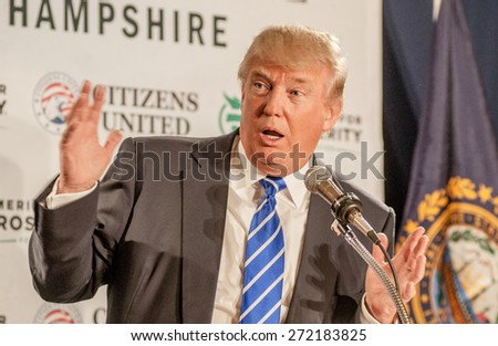 Donald Trump speaks in Manchester, New Hampshire, USA, on April 12, 2014 - stock photo
