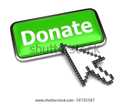 Donate button and arrow - stock photo