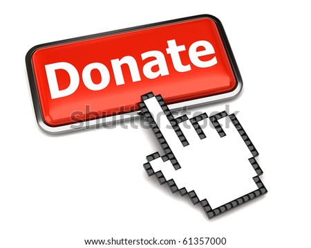 Donate button and hand cursor - stock photo