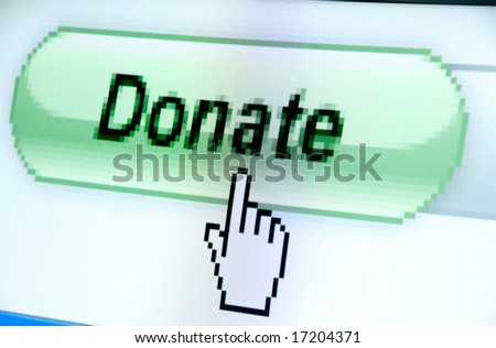 donate button screenshot with a white cursor - stock photo