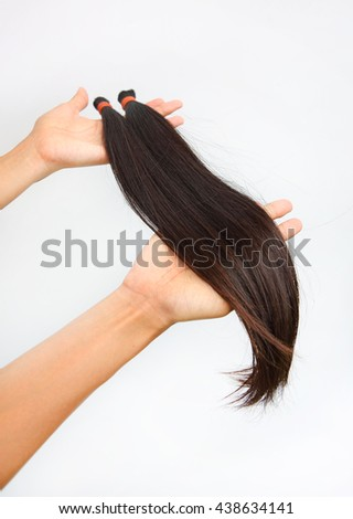 Donate hair to cancer patient white background isolated