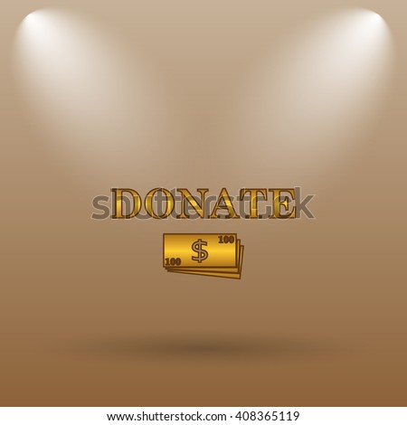 Donate icon. Internet button on brown background. - stock photo