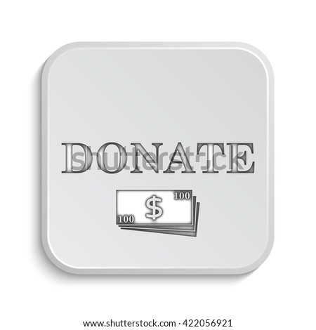 Donate icon. Internet button on white background. - stock photo