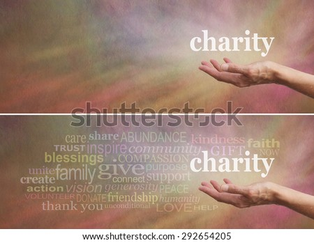 Donate to Charity Campaign banner - Woman's outstretched open hand with the word 'charity' above, surrounded by a charity related word cloud on a wide rustic warm multicolored stone effect background  - stock photo