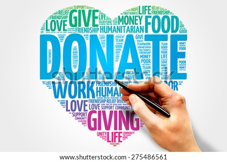Donate word cloud, heart concept - stock photo