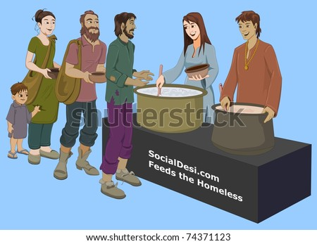 Donating food for beggers - stock photo