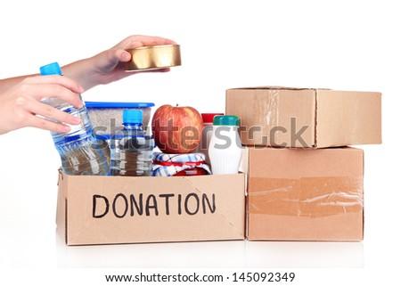 Donation box isolated on white - stock photo