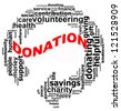 DONATION info text graphics and arrangement concept (word clouds) on white background - stock photo