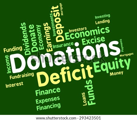 Donation Word Showing Contributes Contribute And Words