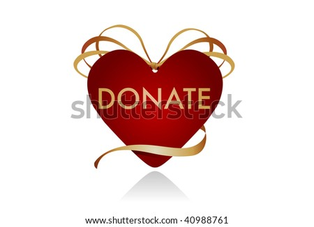 "Donations from the Heart. Gift icon in the shape of a heart. Intended to be used as a symbol for donor gifts. Could work well as a ""donate"" button on a website as well. - stock photo"