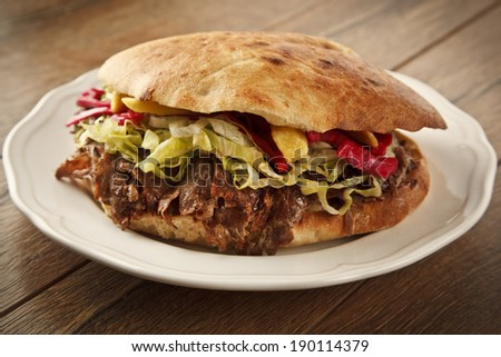 Doner Kebab - grilled meat, bread and vegetables shawarma sandwich - stock photo