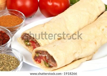doner kebab in durum bread - stock photo