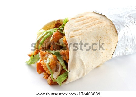 Doner kebab not isolated . Close up. - stock photo