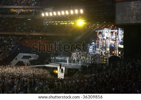 DONETSK - AUGUST 29: Singer Beyonce Knowles performs on onstage the Grand Show - Opening the best stadium in Europe,. August 29, 2009 in Donetsk, Ukraine - stock photo