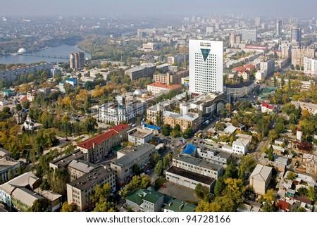 Donetsk - city of Ukraine. Aerial view. - stock photo