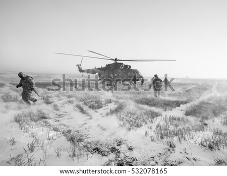 DONETSK REGION, UKRAINE - Dec 05, 2016: Ukrainian army helicopter during a combat mission in the area of the antiterrorist operation in the Donetsk region