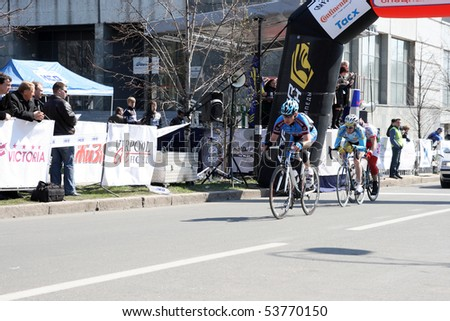 DONETSK, UKRAINE - APRIL 12: KOLESNIKOV Sergey; RYBIN Volodymyr; OJAVEE Mart. Grand prix of Donetsk, Tournament cycling on April 12, 2009 in Donetsk, Ukraine