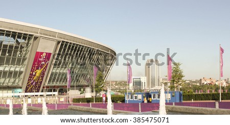 DONETSK, UKRAINE - CIRCA JUNE, 2012: The Donbass Arena (Donetsk, Ukraine) is the first stadium in Eastern Europe designed and built to UEFA elite standards. Arena for semifinals Euro-2012.